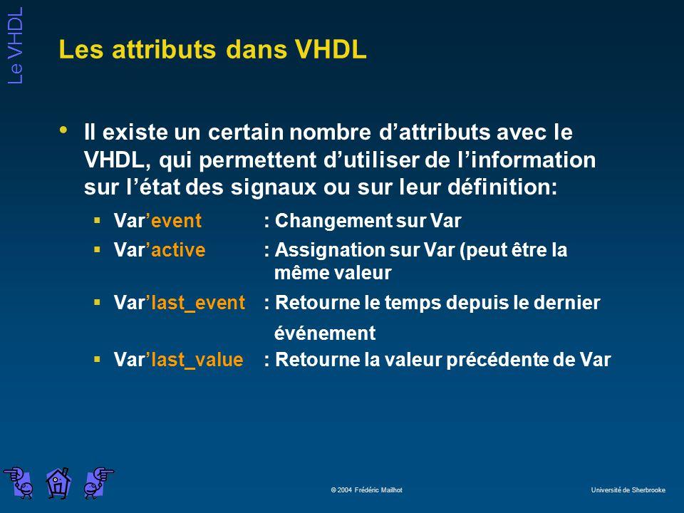 Les attributs dans VHDL