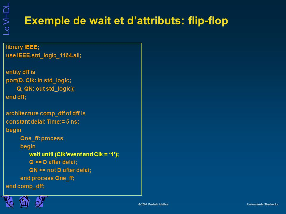 Exemple de wait et d'attributs: flip-flop