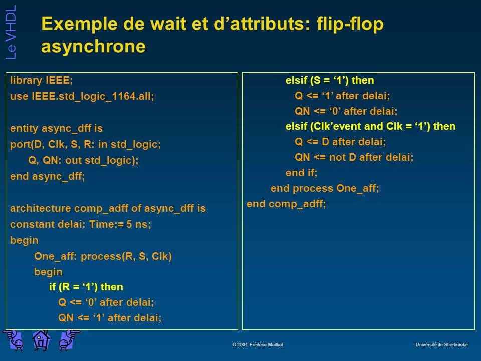 Exemple de wait et d'attributs: flip-flop asynchrone