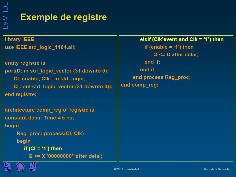 Exemple de registre library IEEE; use IEEE.std_logic_1164.all;