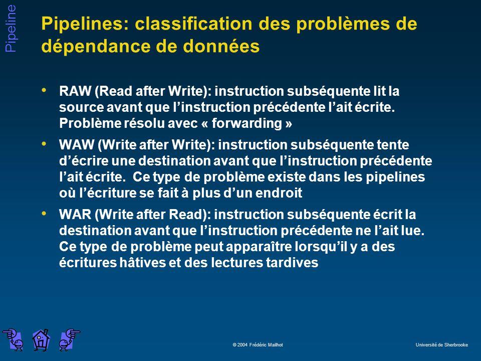 Pipelines: classification des problèmes de dépendance de données