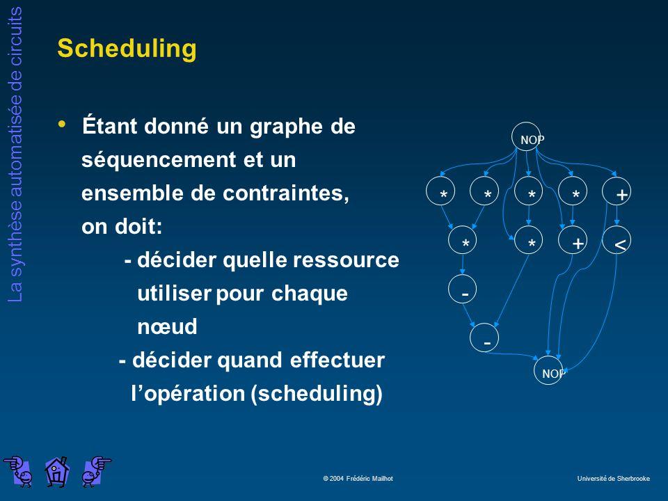 Scheduling Étant donné un graphe de séquencement et un