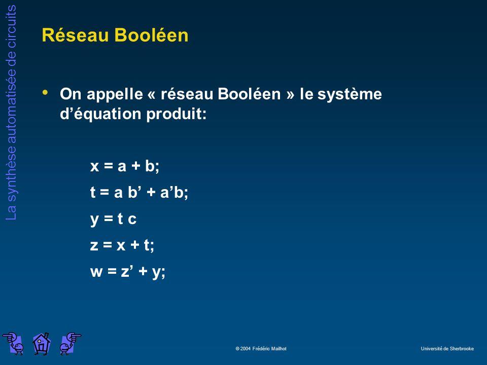 Réseau Booléen On appelle « réseau Booléen » le système d'équation produit: x = a + b; t = a b' + a'b;