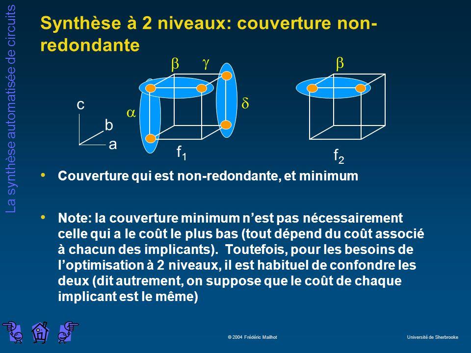Synthèse à 2 niveaux: couverture non-redondante