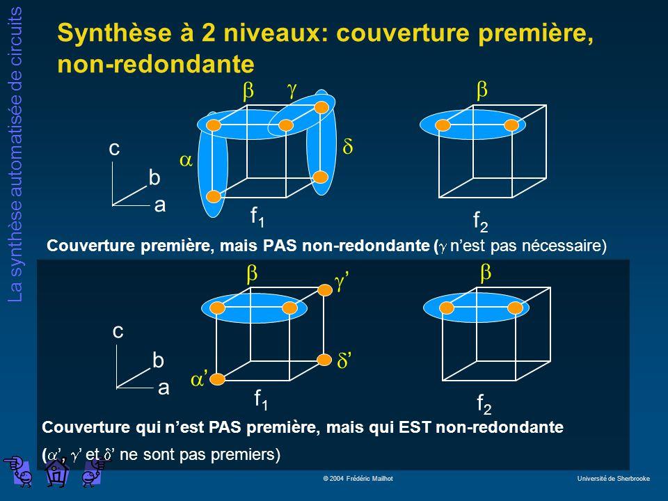 Synthèse à 2 niveaux: couverture première, non-redondante