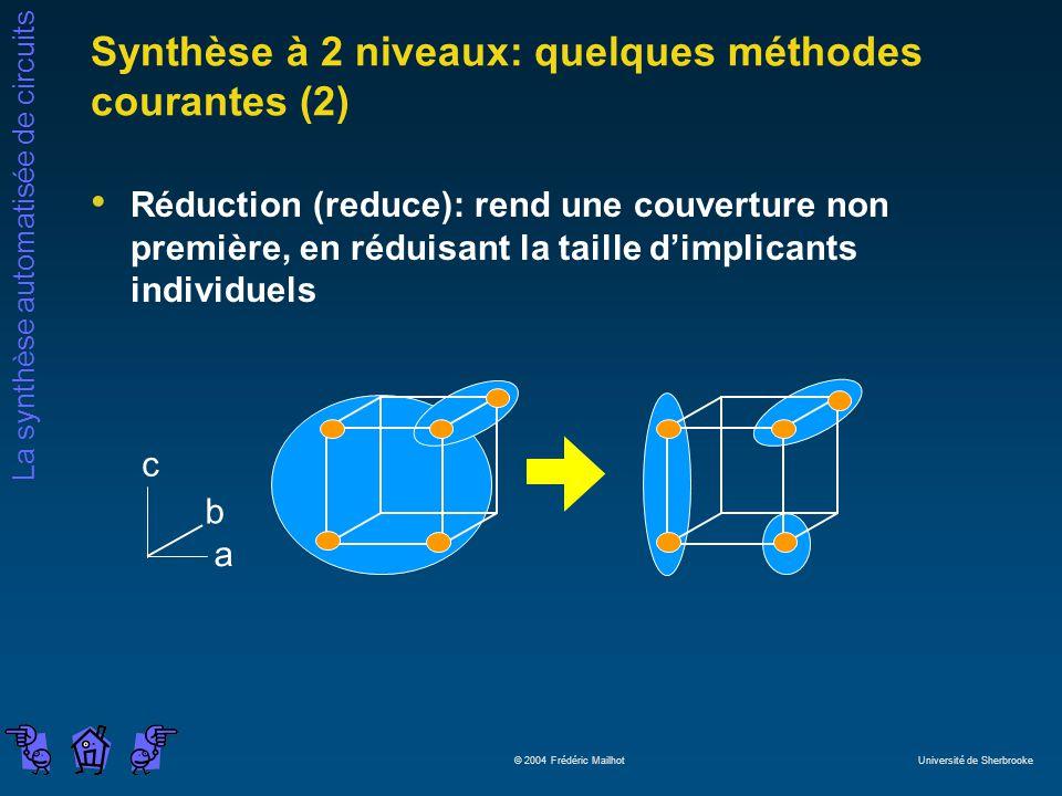 Synthèse à 2 niveaux: quelques méthodes courantes (2)