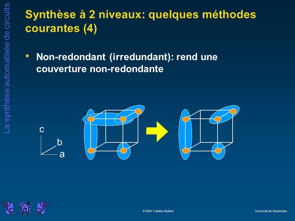 Synthèse à 2 niveaux: quelques méthodes courantes (4)