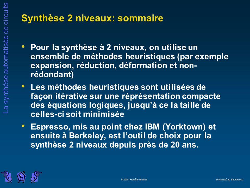 Synthèse 2 niveaux: sommaire