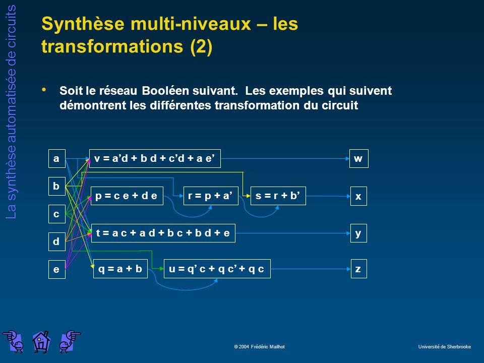 Synthèse multi-niveaux – les transformations (2)