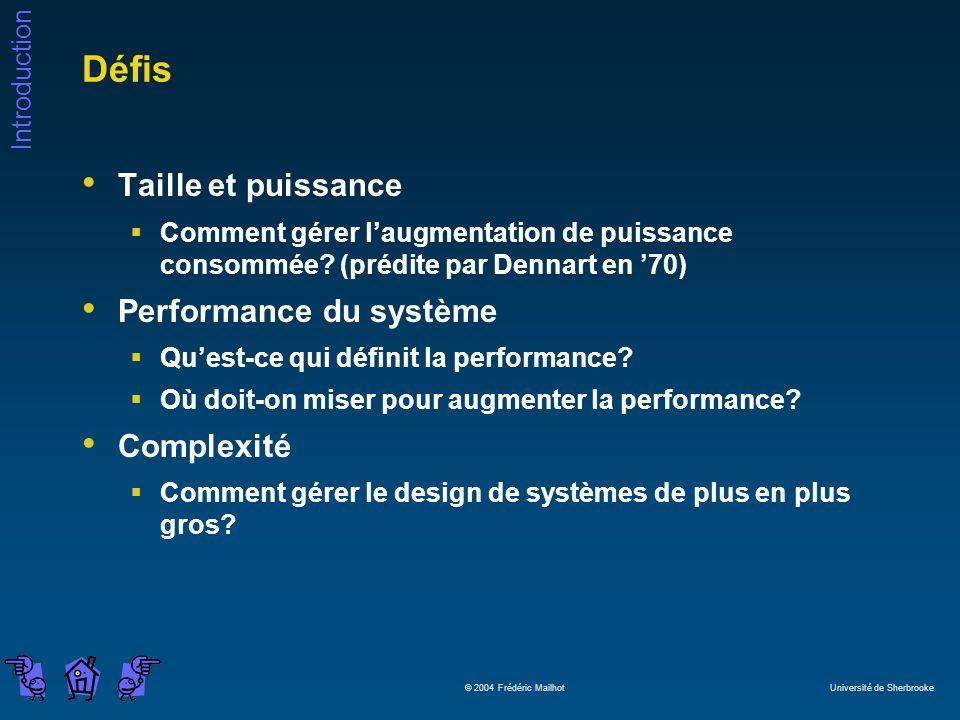 Défis Taille et puissance Performance du système Complexité