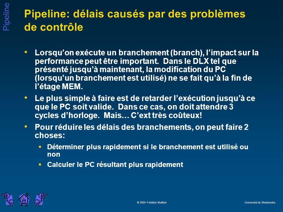 Pipeline: délais causés par des problèmes de contrôle