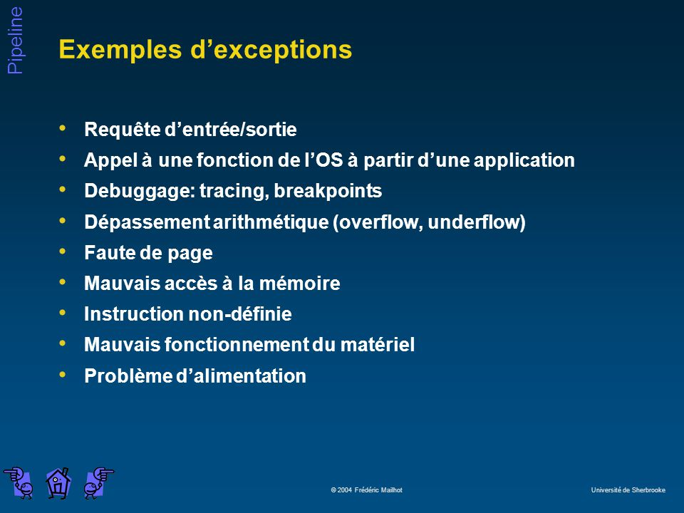 Exemples d'exceptions
