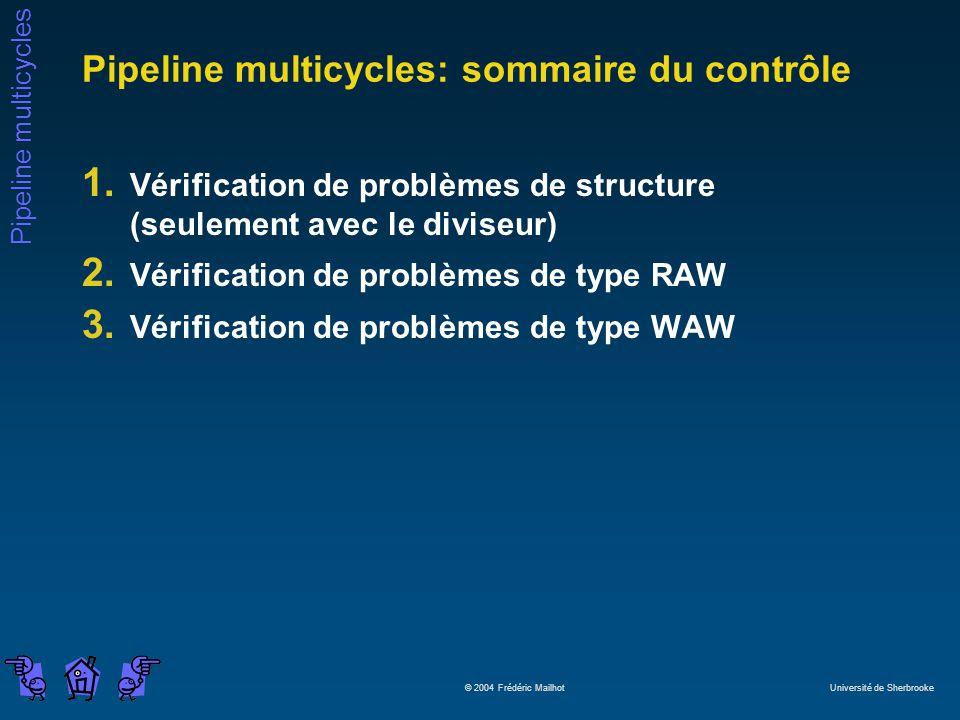 Pipeline multicycles: sommaire du contrôle