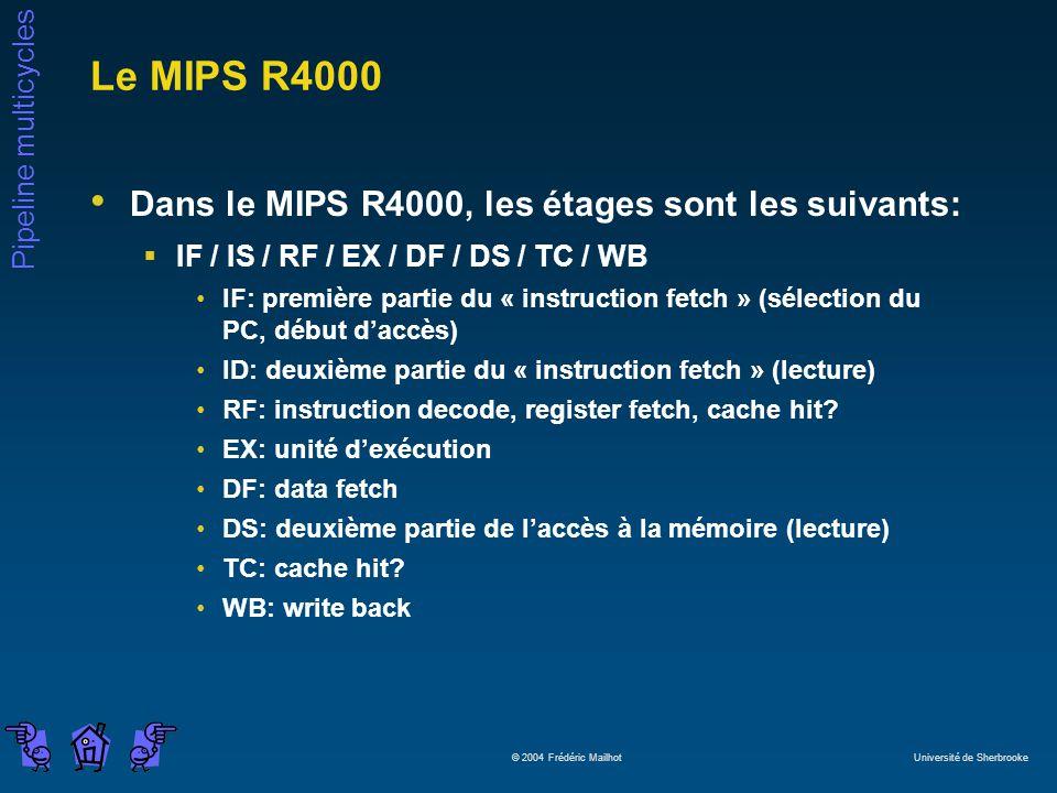 Le MIPS R4000 Dans le MIPS R4000, les étages sont les suivants: