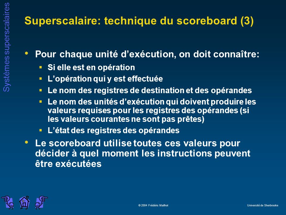 Superscalaire: technique du scoreboard (3)