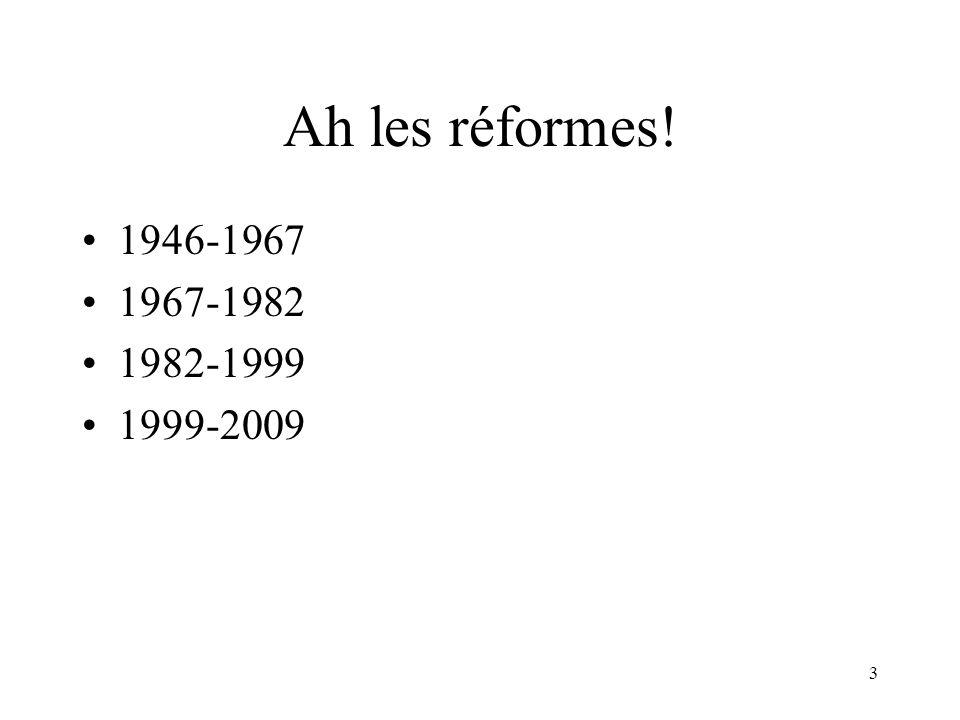 Ah les réformes! 1946-1967. 1967-1982. 1982-1999. 1999-2009. J'ai vécu 4 réformes! La 1ère: j'ai débuté l'école en 1955…