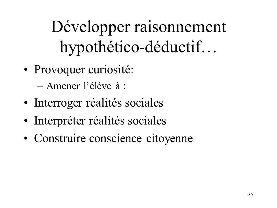 Développer raisonnement hypothético-déductif…