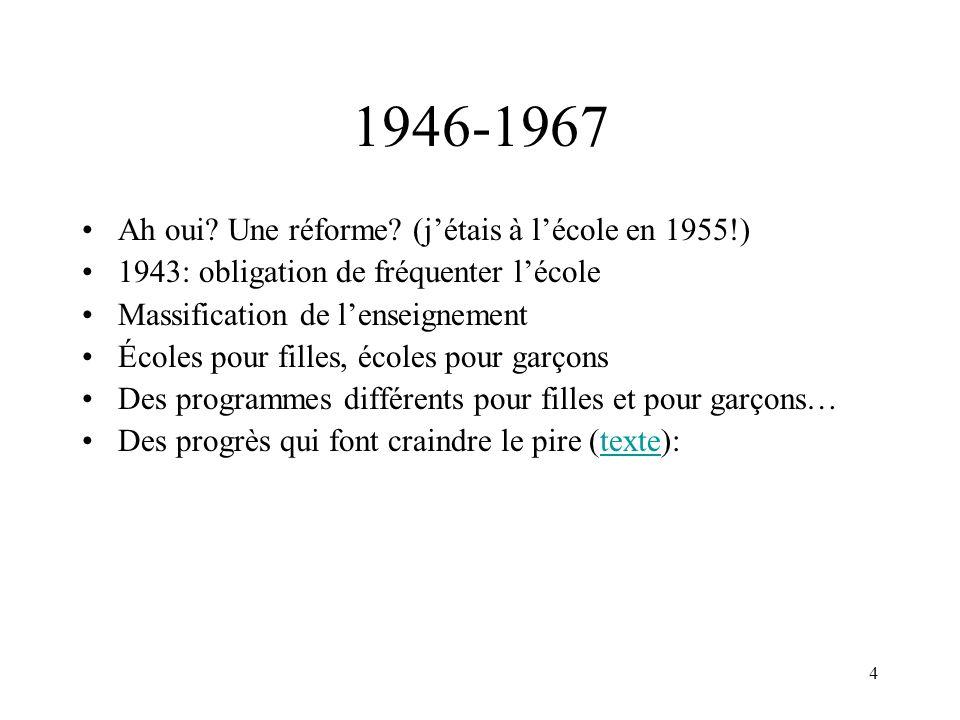 1946-1967 Ah oui Une réforme (j'étais à l'école en 1955!)
