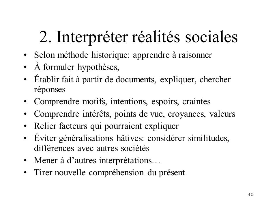 2. Interpréter réalités sociales