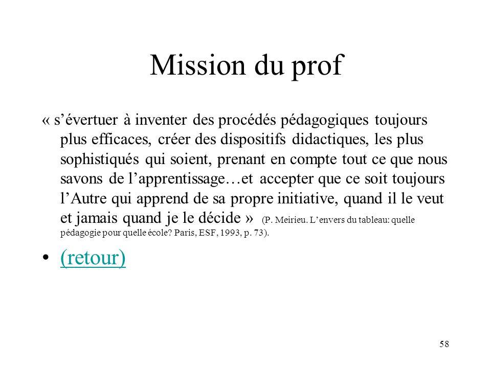 Mission du prof (retour)