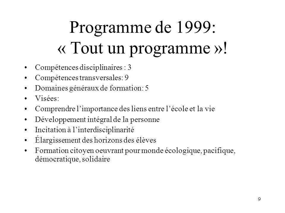 Programme de 1999: « Tout un programme »!