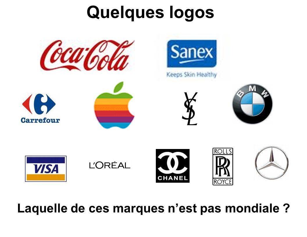 Laquelle de ces marques n'est pas mondiale