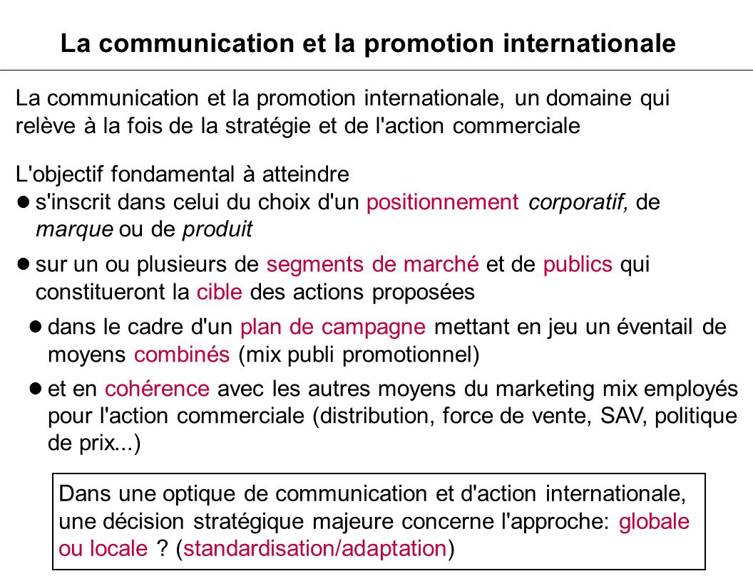 La communication et la promotion internationale