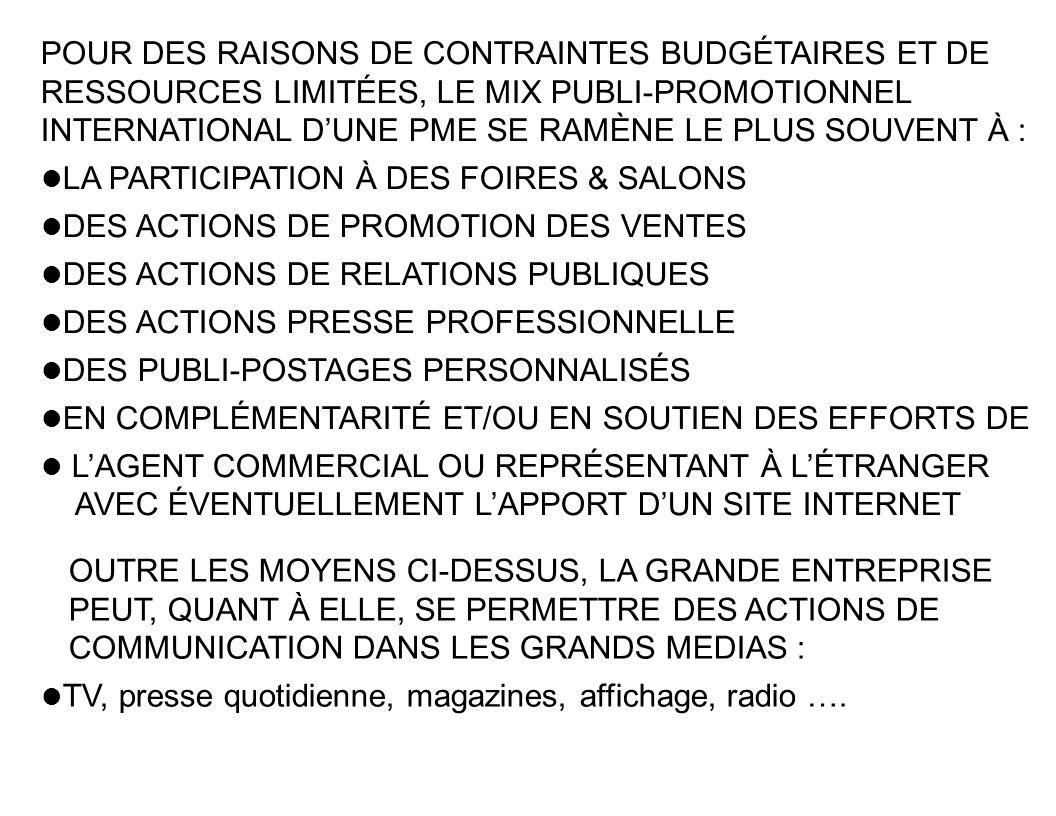 POUR DES RAISONS DE CONTRAINTES BUDGÉTAIRES ET DE RESSOURCES LIMITÉES, LE MIX PUBLI-PROMOTIONNEL INTERNATIONAL D'UNE PME SE RAMÈNE LE PLUS SOUVENT À :