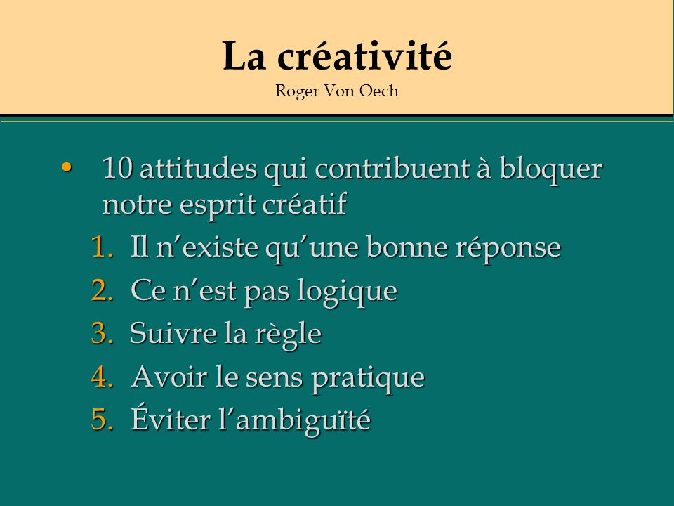 La créativité Roger Von Oech