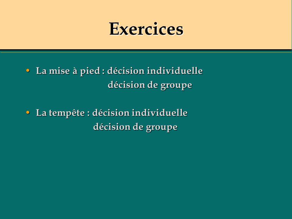 Exercices La mise à pied : décision individuelle décision de groupe