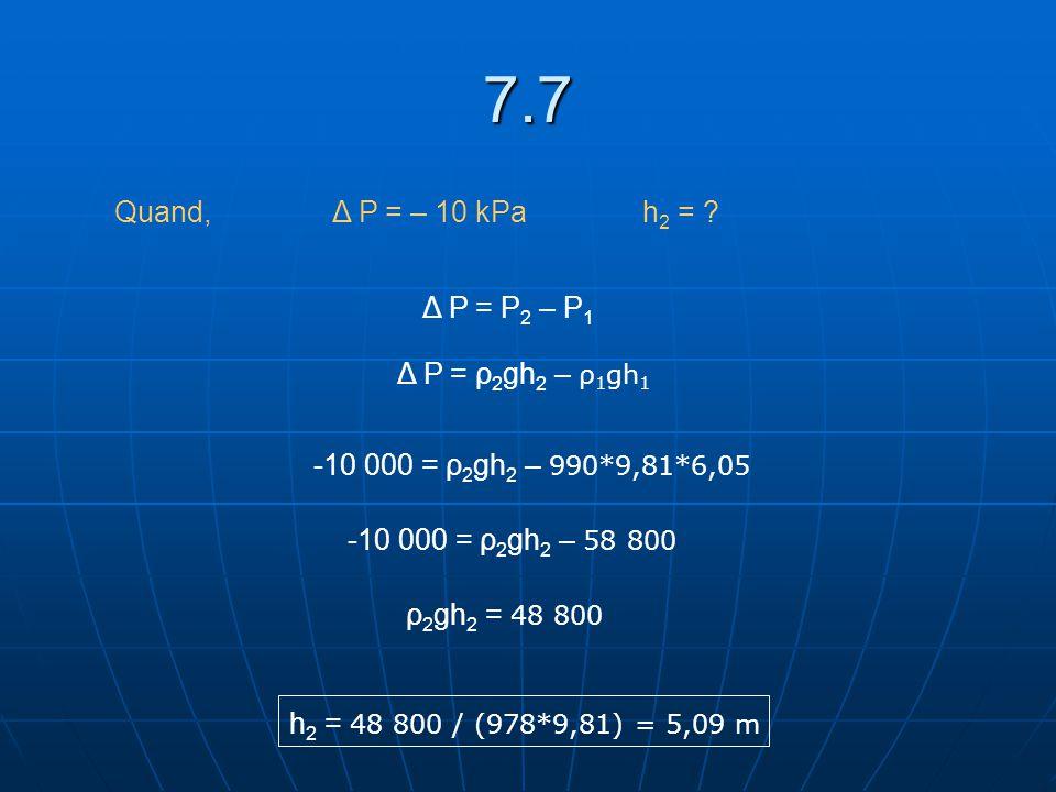 7.7 Quand, Δ P = – 10 kPa h2 = Δ P = P2 – P1 Δ P = ρ2gh2 – ρ1gh1