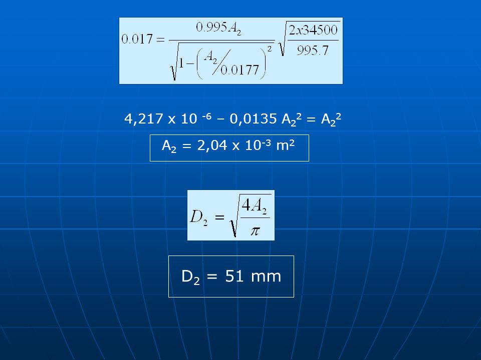 4,217 x 10 -6 – 0,0135 A22 = A22 A2 = 2,04 x 10-3 m2 D2 = 51 mm