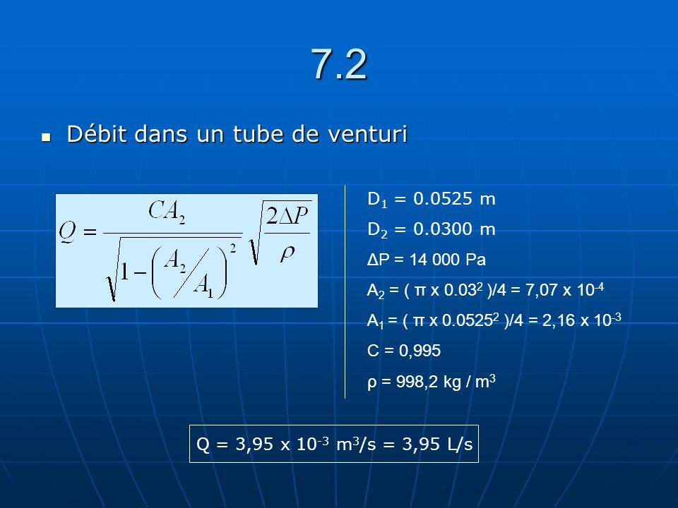 7.2 Débit dans un tube de venturi D1 = 0.0525 m D2 = 0.0300 m