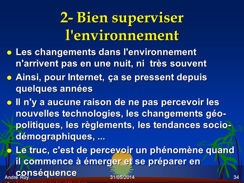 2- Bien superviser l environnement