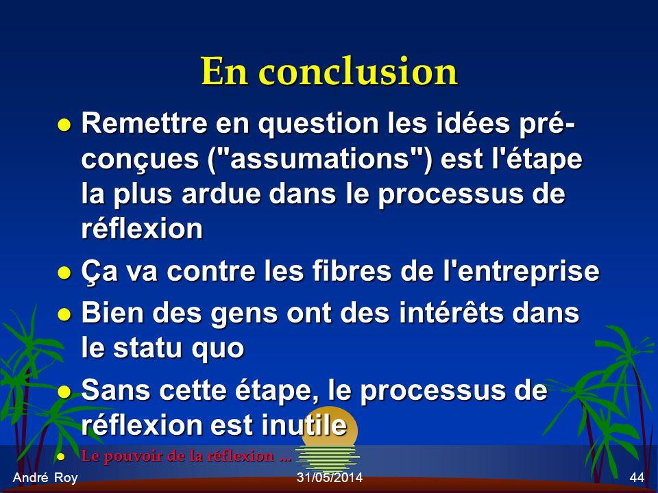 En conclusion Remettre en question les idées pré-conçues ( assumations ) est l étape la plus ardue dans le processus de réflexion.