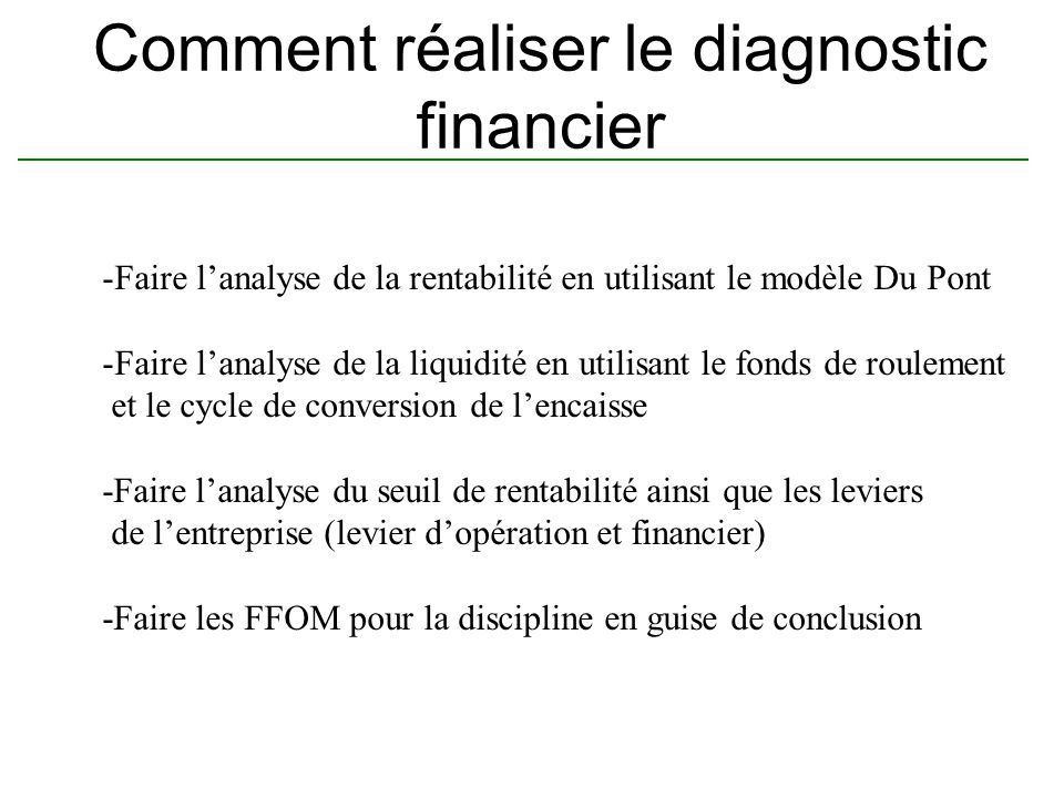 Comment réaliser le diagnostic financier