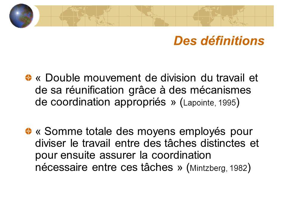 Des définitions « Double mouvement de division du travail et de sa réunification grâce à des mécanismes de coordination appropriés » (Lapointe, 1995)