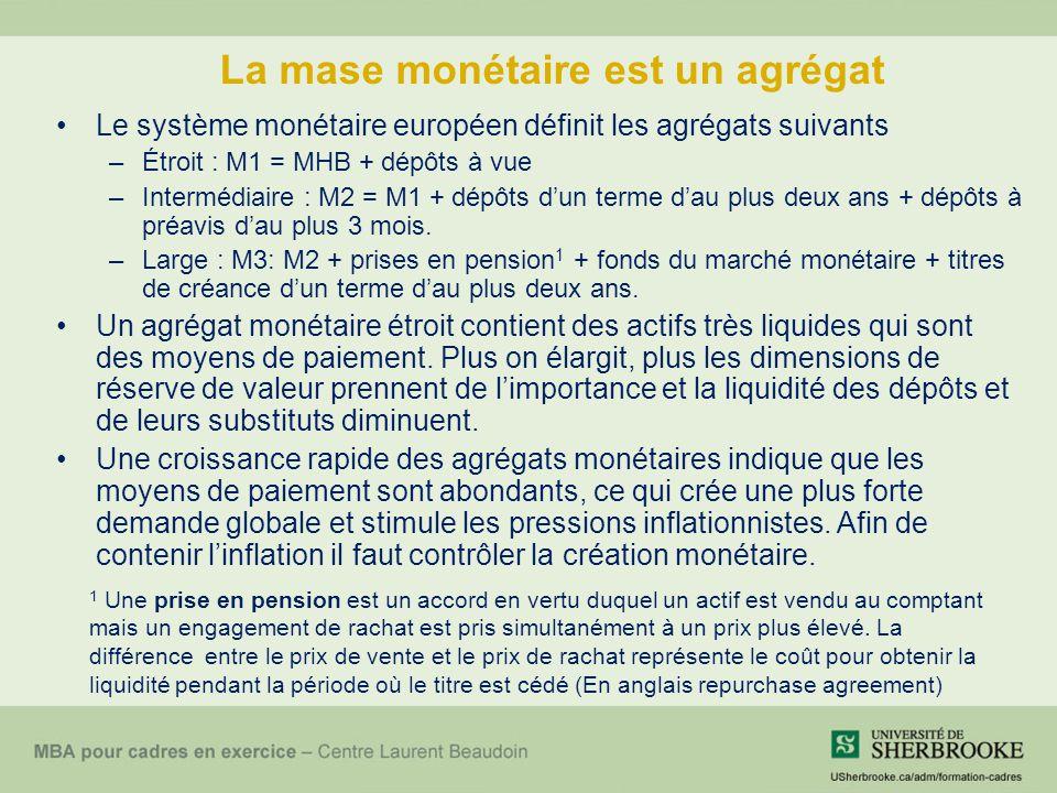 La mase monétaire est un agrégat