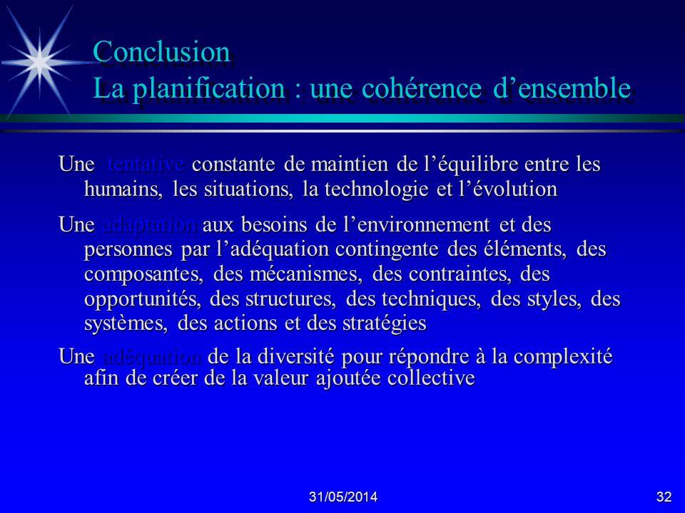 Conclusion La planification : une cohérence d'ensemble