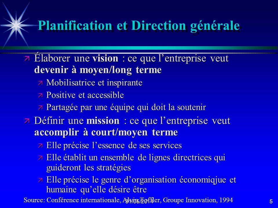 Planification et Direction générale