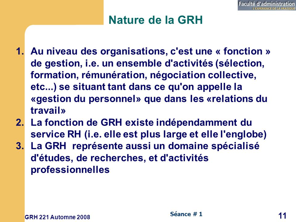 Nature de la GRH