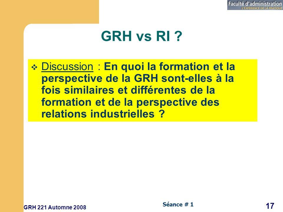 GRH vs RI