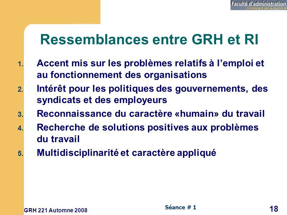 Ressemblances entre GRH et RI