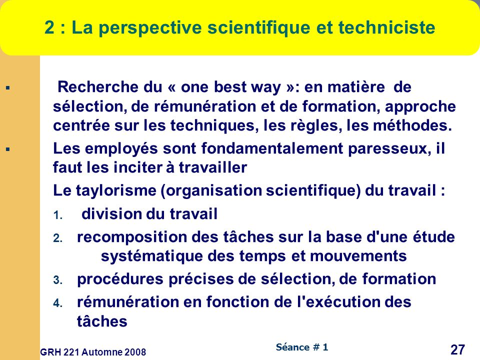 2 : La perspective scientifique et techniciste
