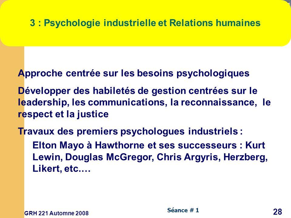 3 : Psychologie industrielle et Relations humaines