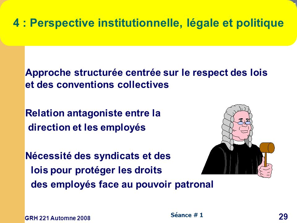 4 : Perspective institutionnelle, légale et politique