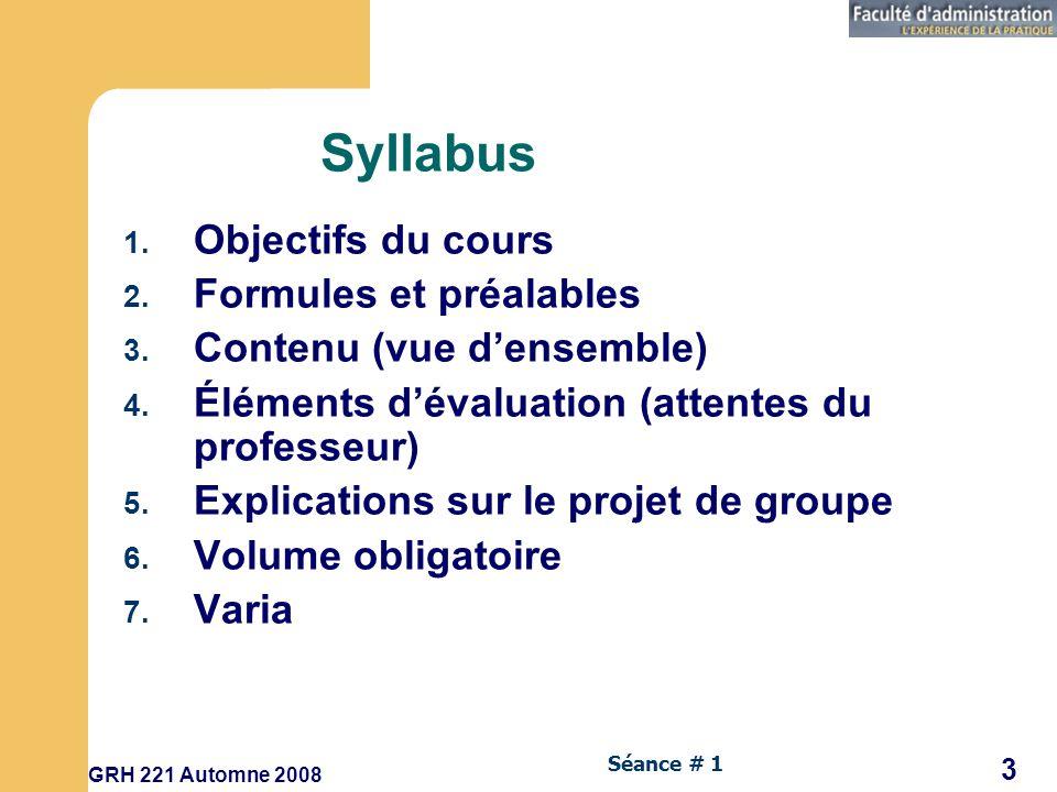 Syllabus Objectifs du cours Formules et préalables