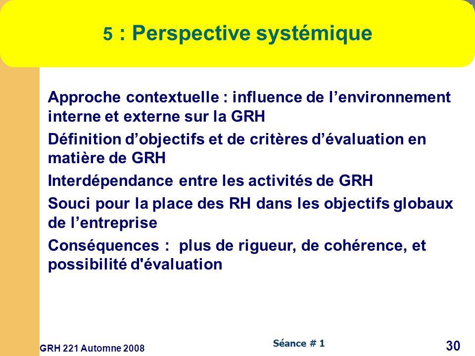 5 : Perspective systémique