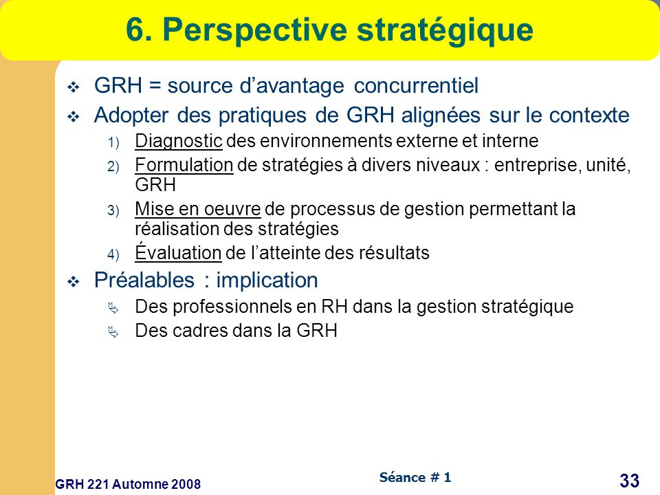 6. Perspective stratégique