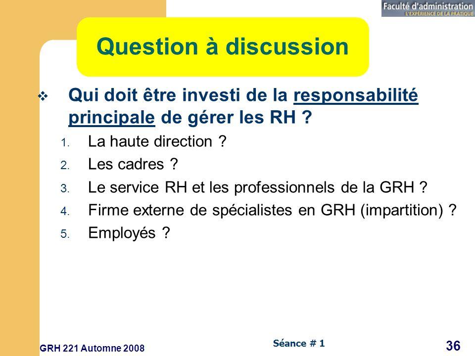 Question à discussion Qui doit être investi de la responsabilité principale de gérer les RH La haute direction